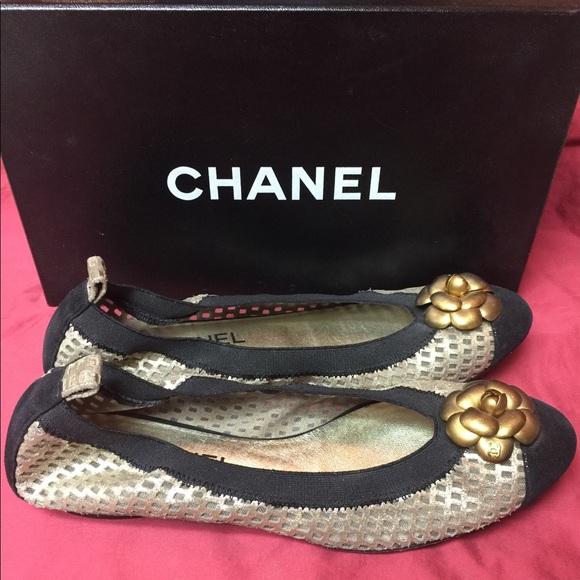 f20eef3e352 Authentic Chanel Gold Camellia Ballerina Flats